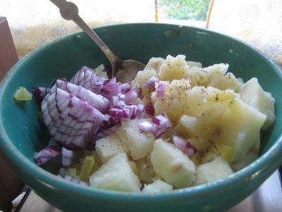 Potato salad in progress 7-11