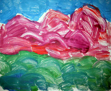 Fuscia mountains rolling green hills