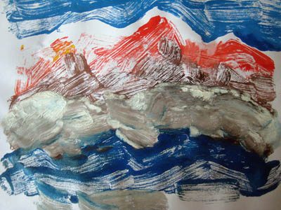 Red mountains in a stormy sea