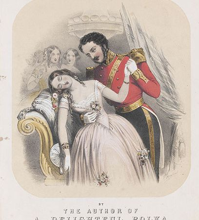 Fainting girl with soldier